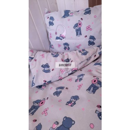 Gyermek ,ovis ágynemű huzat,  Szürke alapon rózsaszín macis
