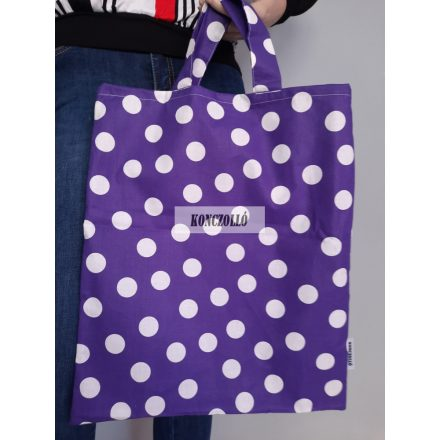 100 % pamut anyagból,bevásárló táska,lila pöttyös