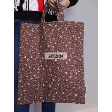 100 % pamut anyagból,bevásárló táska,barna kis virágos