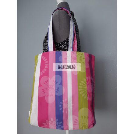 Dupla falú pamut vászon bevásárló táska,vállra akasztható ,csíkos virágos