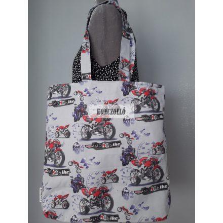 Dupla falú pamut vászon bevásárló táska,vállra akasztható ,motoros