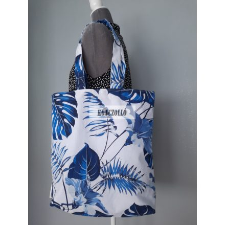 Dupla falú pamut vászon bevásárló táska,vállra akasztható , kék leveles