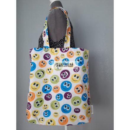 Dupla falú pamut vászon bevásárló táska,vállra akasztható ,emoji